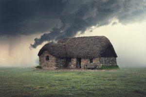 blackhouse, cabin, storm